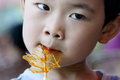 Boy eating sweet malt. Picture of a little chinese boy eating cock-shaped sweet malt, a chinese traditional hand-made food Stock Photos