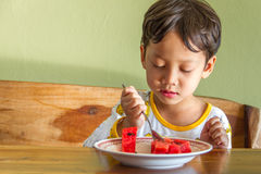 Boy eating watermelon Royalty Free Stock Photography
