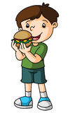 Boy eats burger Stock Photos