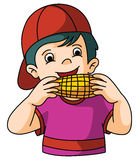 Boy eats corn Stock Images