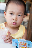 Boy eating ice cream Royalty Free Stock Photo