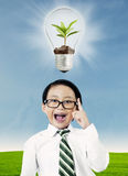 Boy with ecology concept Stock Image