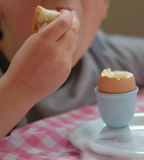 Boy with egg for breakfast Stock Photography
