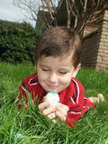 Boy with eggs 6. A young boy looking at a decorated Easter egg royalty free stock images