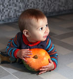 Boy of eight months with pumpkin Royalty Free Stock Photography