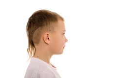 Boy of eight years in profile Royalty Free Stock Images