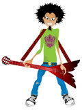 Boy with electric guitar. Cartoon drawing of a boy with electric guitar Royalty Free Stock Image