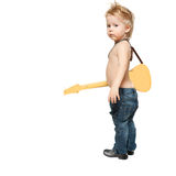 The boy and electric guitar Royalty Free Stock Photo