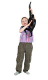 The boy with the electronic guitar Stock Photography