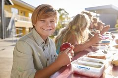 Boy at elementary school lunch table smiling to camera stock photo