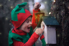 Boy in elf costume looking in astonishment at a birdhouse. Boy in elf costume with lantern looking in astonishment at a birdhouse Stock Photo