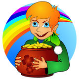Boy elf and treasure Royalty Free Stock Images