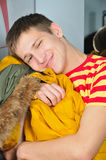 Boy embrace jacket Royalty Free Stock Photography