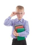 Boy embrace three interesting books Stock Photo