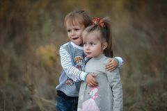 Boy embraces girl. Little boy gently hugs her little sister royalty free stock photo