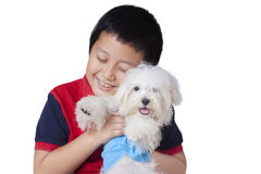 Boy embraces a maltese dog in studio. Cute little boy smiling happy in the studio while embracing a maltese dog, isolated on white background Royalty Free Stock Images