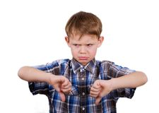 A boy with a emotion of discontent and gesture dislike. isolate Stock Photos