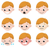 Boy Emotion Faces Cartoon. Isolated set of male avatar expressions. Vector Illustration Royalty Free Stock Photo