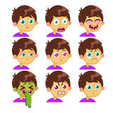 Boy emotion faces. Vector cartoon characters. Boy emotion faces. Man emoji face icons and symbols. Human expression sign. Avatars. Stickers Stock Photography