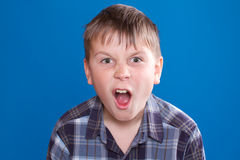 Boy emotionally shouts Royalty Free Stock Images