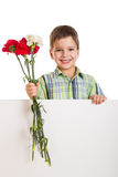 Boy with empty blank and carnations Royalty Free Stock Images