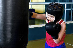 Boy engaged in boxing Stock Photography