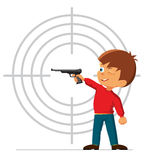 Boy is engaged in a sports pistol shooting. Vector illustration Royalty Free Stock Image
