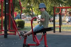 The boy on the playground. Royalty Free Stock Image