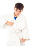 Boy engaged taekwondo Stock Photos