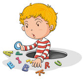 A boy with english letters Stock Photos