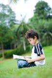 Boy engross in reading his book Stock Photos