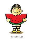 Boy enjoy eating slice of watermelon. Stock Photography