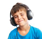 The boy is enjoy the music Stock Photography