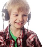 Boy is enjoy the music Royalty Free Stock Photos