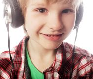 Boy is enjoy the music Royalty Free Stock Image