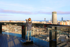 Boy enjoying city trip to Barcelona Stock Images