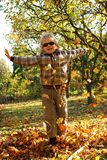 Boy enjoying fall Royalty Free Stock Photos