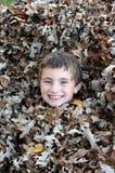 Boy Enjoying a Fall Day. A boy enjoys a warm fall day by hiding in a leaf pile Royalty Free Stock Photo