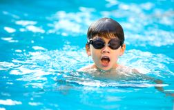 Boy enjoying a good swim in the pool Royalty Free Stock Photography