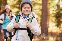 Boy enjoying hike in a forest with family, California, USA Stock Photography