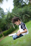 Boy enjoying his reading book in outdoor park. Young boy enjoying his reading book in outdoor park Stock Photos