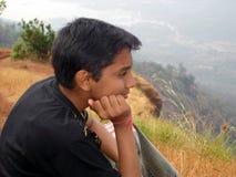 Boy Enjoying Nature Stock Images
