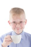 Boy enjoying a nice warm cup of coffee Stock Photo