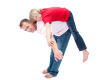 A boy enjoying piggyback ride with his father Royalty Free Stock Images