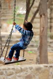 Boy Enjoying Swing at Rock Garden - Chandigarh - India royalty free stock images