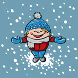 Boy enjoys first snow. The boy enjoys first snow. vector illustration Stock Photo