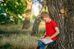 Boy enthusiastically reading a book in the Park . Boy reading a book in the Park . The concept of out-of-school education . Outdoor recreation stock photos