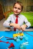 The boy enthusiastically studying chemistry Stock Photo