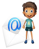 Boy with envelop. Illustration of a boy with mail envelop on a white vector illustration