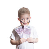 Boy with  euro money Stock Images
